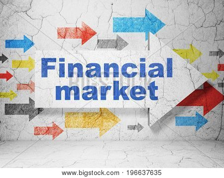 Currency concept:  arrow with Financial Market on grunge textured concrete wall background, 3D rendering