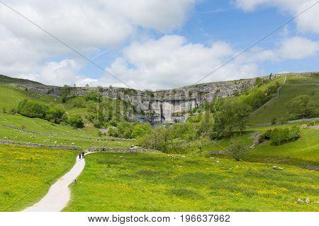 Malham Cove Yorkshire Dales National Park England UK popular tourist attraction