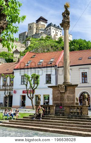 TRENCIN SLOVAKIA - MAY 13: Castle and plague column in city Trencin on May 13 2017 in Trencin