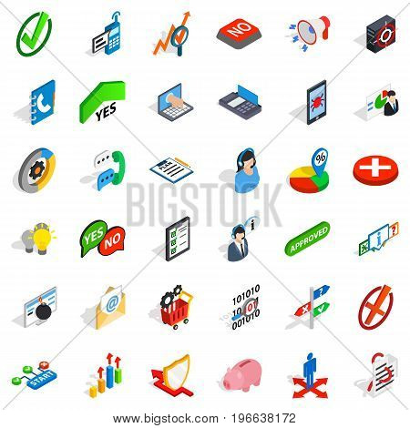 Statistics icons set. Isometric style of 36 statistics vector icons for web isolated on white background