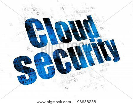 Protection concept: Pixelated blue text Cloud Security on Digital background