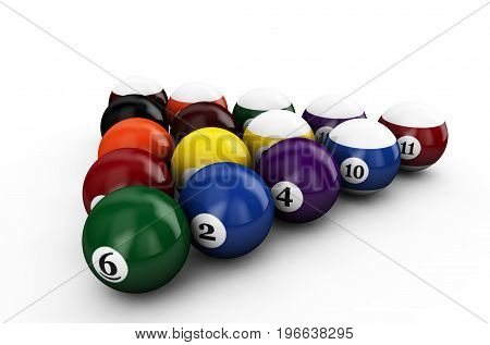 Triangle group colorful glossy pool game balls with numbers isolated on white background. Set of retro pool-balls. 3d render