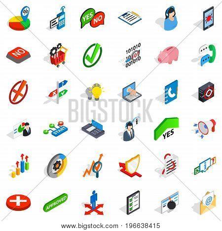 Analytics and statistics icons set. Isometric style of 36 analytics and statistics vector icons for web isolated on white background