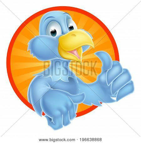 A cartoon bluebird bird character giving a thumbs up