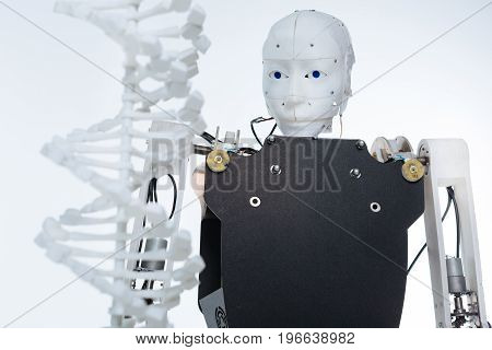 Science fiction brought to life. White intelligent elaborate robot standing in front of the plastic DNA model and staring at it
