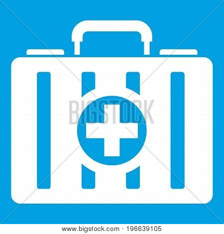 First aid kit icon white isolated on blue background vector illustration
