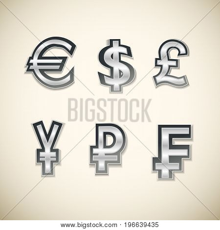 Isolated different currency money symbols set on light background flat vector illustration
