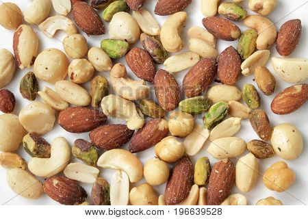 Close Up of Mixed Salted Beer Nuts