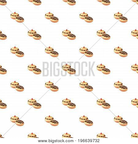 Two hanukkah doughnuts pattern seamless repeat in cartoon style vector illustration