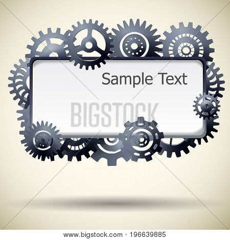 Industrial steel gear mechanism frame for text realistic vector illustration