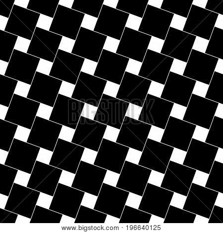 Black and white abstract seamless geometric square pattern - vector background graphic from angular squares