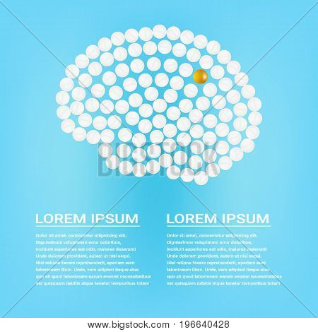 Human Brain With Pills With Text Isolated On A Background. Vector Illustration.Neurology. Medical concept created by pills.