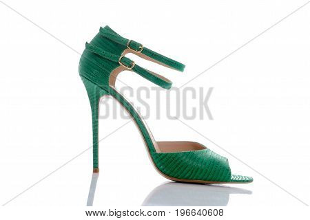 green sandals with original double clasp for women