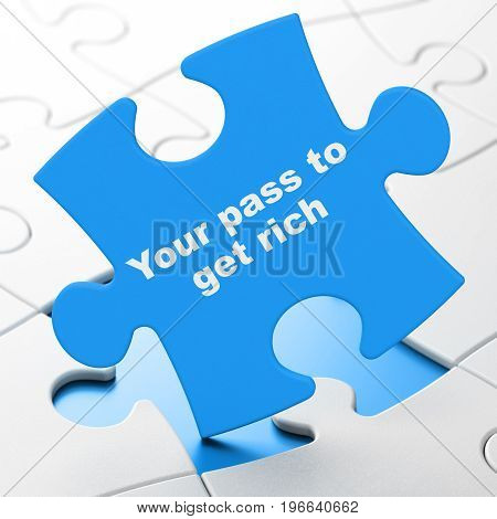 Business concept: Your Pass to Get Rich on Blue puzzle pieces background, 3D rendering