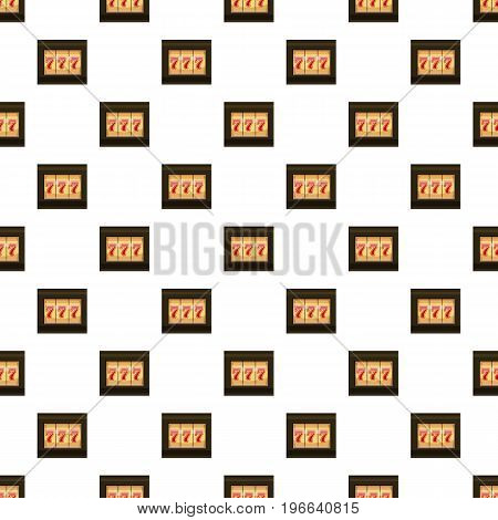 Slot machine with three sevens pattern seamless repeat in cartoon style vector illustration