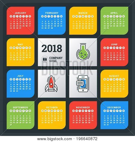 Calendar For 2018 Year. Colorful Vector Design Template. Week Starts On Sunday. Flat Style Color Vec