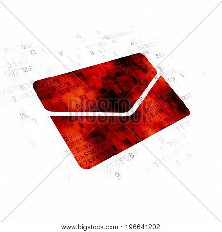 Finance concept: Pixelated red Email icon on Digital background