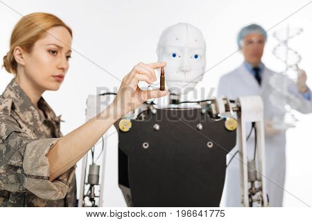 Military knowledge. Dedicated extraordinary admirable people developing innovative technologies for military and scientific purposes while employing robots