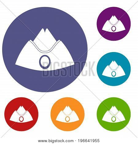 Forage cap icons set in flat circle red, blue and green color for web