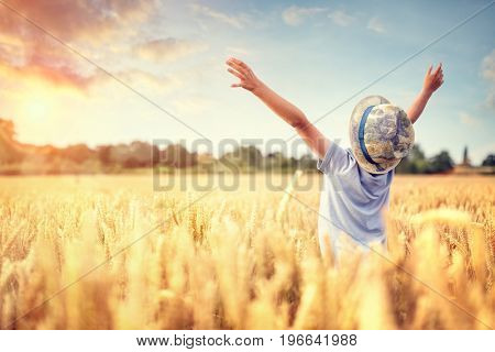 Boy in a wheat field in summer with raised arms watching the sunset
