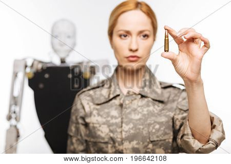 Take a shot. Courageous experienced precise officer working on a secret project while developing artificial intelligence for military purposes