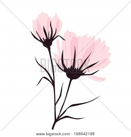 Vector background with pink flowers. EPS 10. Contains transparent objects.