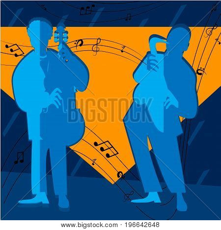 Jazz band with singer, saxophone and piano - vector illustration