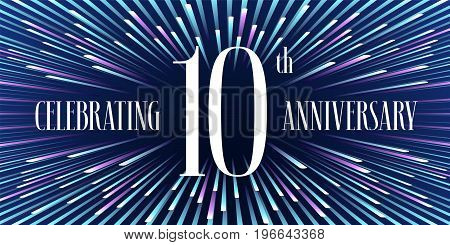 10 years anniversary vector icon, banner. Graphic design element or logo with abstract background for 10th anniversary