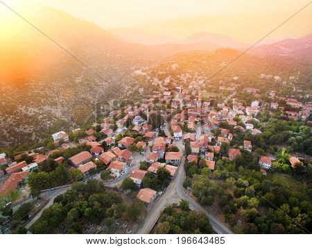 Aerial photograph of town of Ormana Ibradi Antalya Turkey