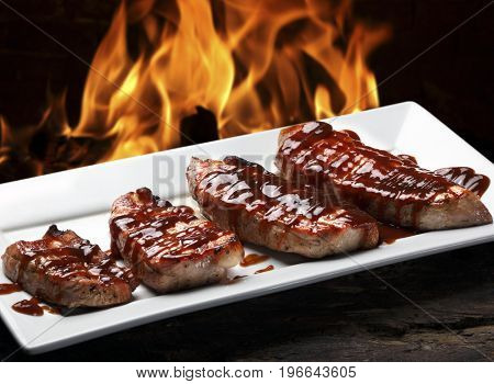 Roasted pork with barbecue sauce