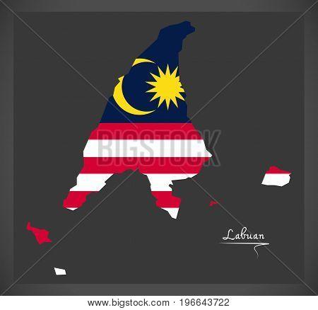 Labuan Malaysia Map With Malaysian National Flag Illustration