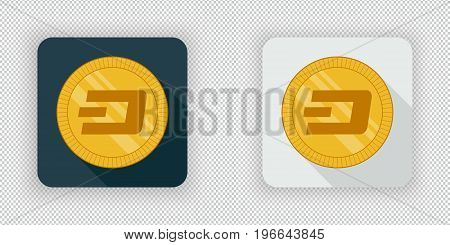 Light and dark crypto currency icon Dash on a transparent background