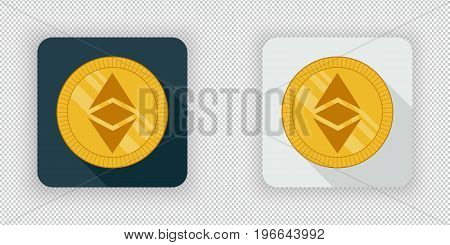 Light and dark crypto currency icon Ethereum Classic on a transparent background