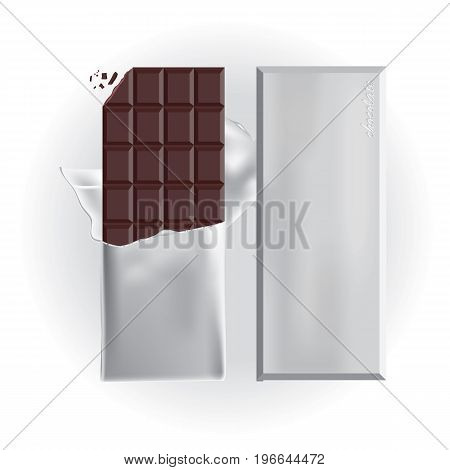 Chocolate Bar with Foil Wrap Vector Illustration