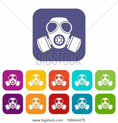 Chemical gas mask icons set vector illustration in flat style in colors red, blue, green, and other