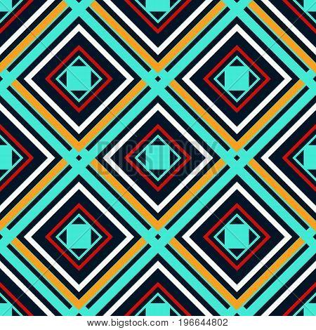 Blue orange green and white rhombuses on a dark background. Seamless geometric pattern