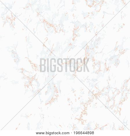 White marble texture with rose gold. Patina effect. Seamless pattern. Overlay distress grain. Sequin rose gold. Holiday background. Light color. Vector. EPS10.