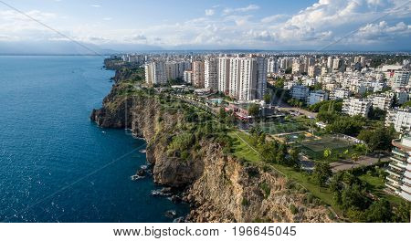 Aerial photograph of Antalya bay on sunny day