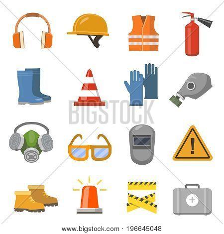 Safety work flat icons set. glove, workwear, protective mask, extinguisher.