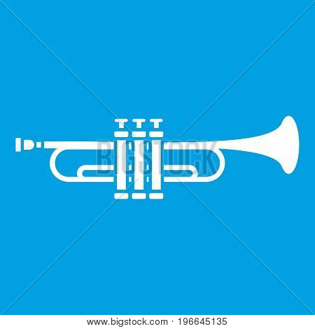 Brass trumpet icon white isolated on blue background vector illustration