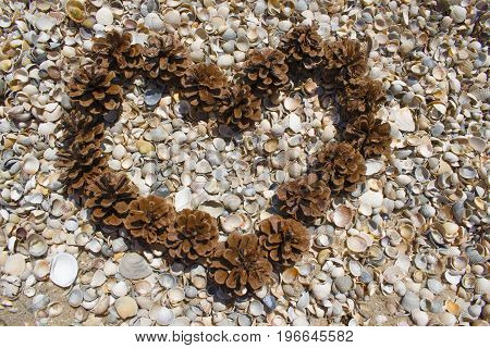 Heart Of Cones On The Beach