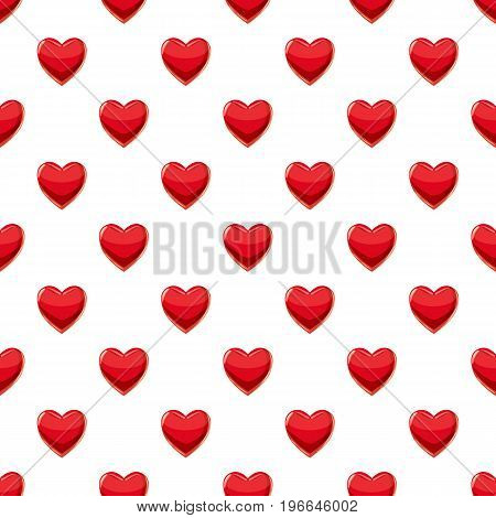 Heart suit plying card pattern seamless repeat in cartoon style vector illustration