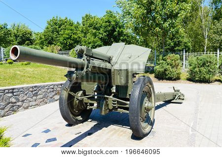 Military equipment. The old cannon. Old monument.