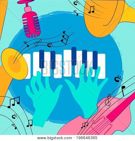 Colorful music instruments design vector illustration abstract