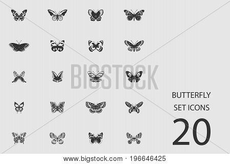 Butterfly set of flat icons. Simple vector illustration