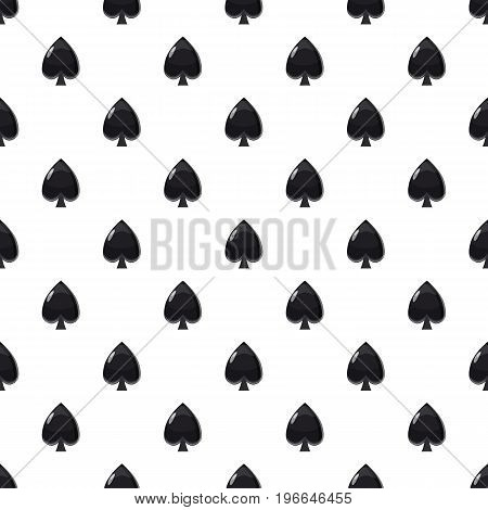 Spade symbol plying card pattern seamless repeat in cartoon style vector illustration