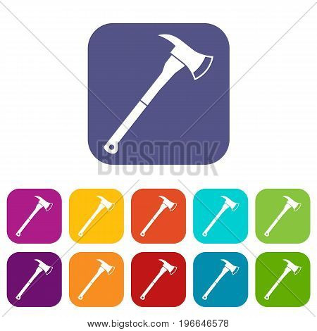 Firefighter axe icons set vector illustration in flat style in colors red, blue, green, and other