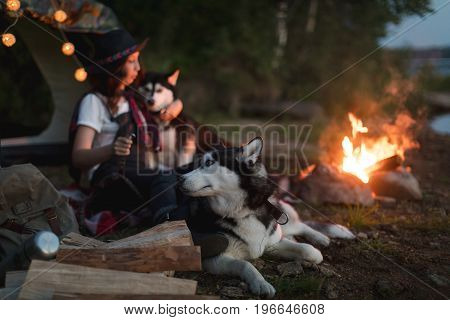 Side view of woman sitting with two Husky near fire on nature.