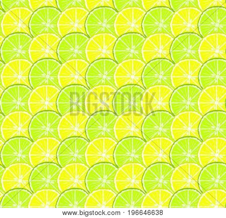 Bright seamless citrus pattern with yellow lemon and green lime circles. Nice summer texture for textile wrapping paper wallpaper background cover banner web design
