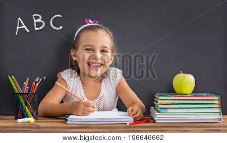 Back To School Concept Happy Smiling Child Studying